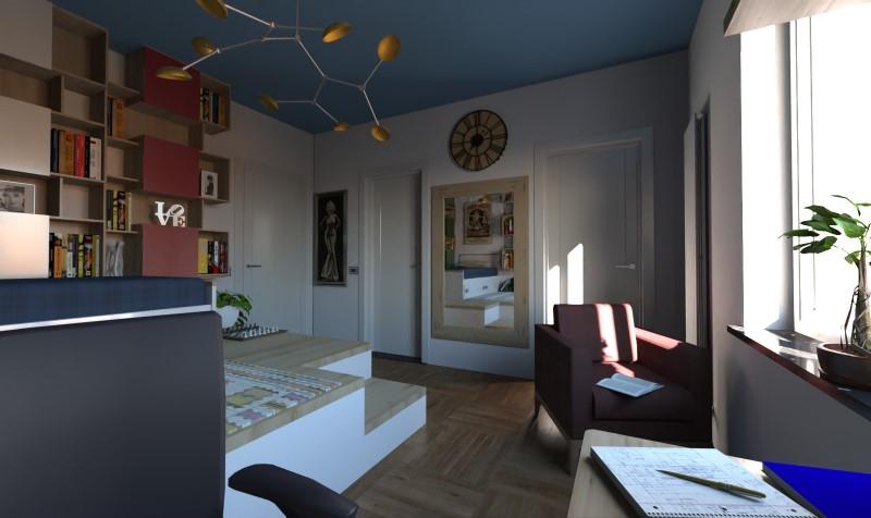 Render foto realistico che mostra una camera da letto singola per ragazzi