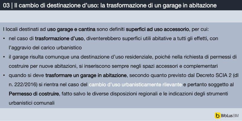 Immagine a colori che mostra un prospetto informativo relativo alla procedura del cambio di destinazione d'uso riguardo al progetto di come trasformare un garage in appartamento