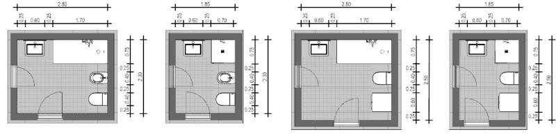 Rappresentazione di uno schema di bagno che presenta apparecchi ad angolo