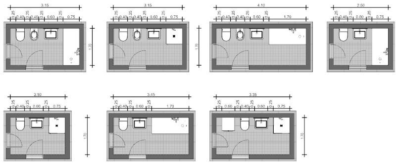 Rappresentazione di uno schema di bagno con apparecchi in linea