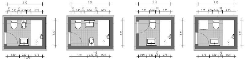 Rappresentazione dello schema di un bagno che presenta apparecchi opposti e dotato di una finestra