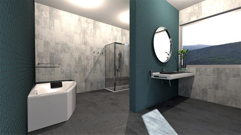 Il render mostra il modello di un bagno realizzato con Edificius