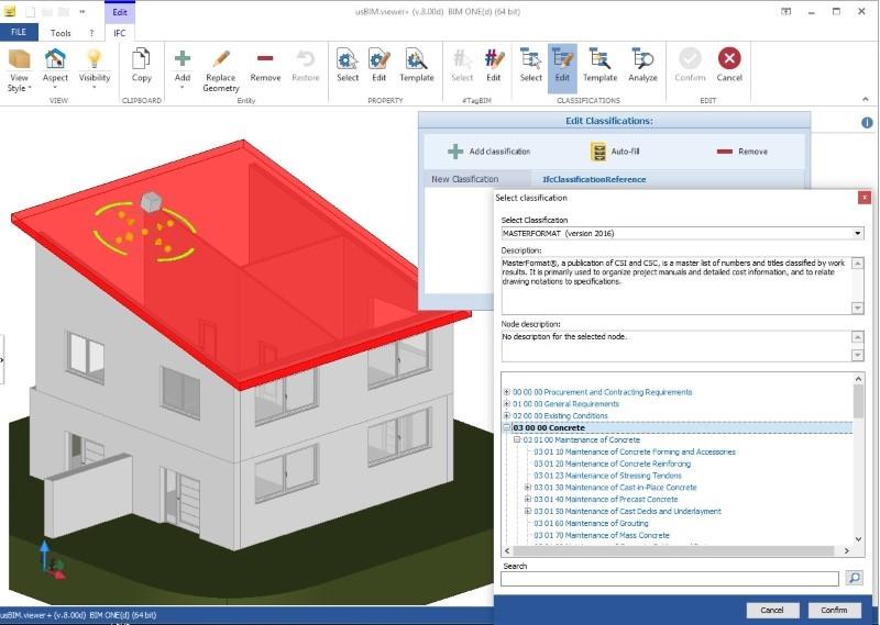 Immagine a colori che mostra IFC e sistemi di classificazione in edilizia e un esempio di classificazione MasterFormat con usBIM.view+