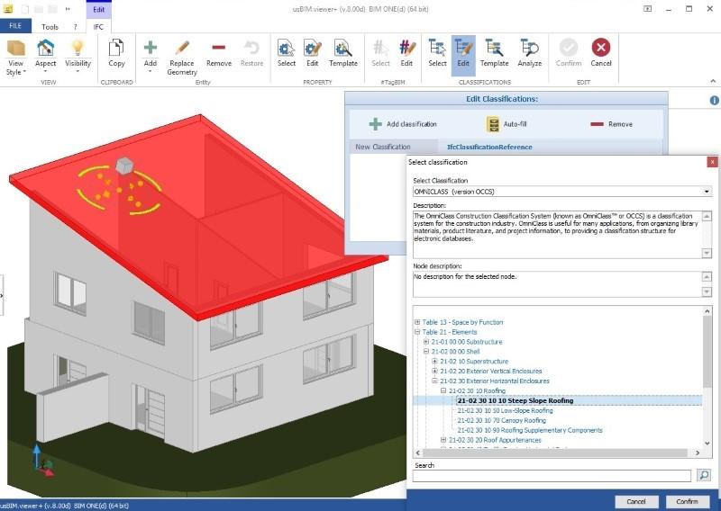 Immagine a colori che mostra IFC e sistemi di classificazione in edilizia e un esempio di classificazione OmniClass con usBIM.view+