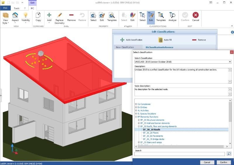 immagine a colori che mostra IFC e sistemi di classificazione in edilizia e un esempio di classificazione UniClass 2015 con usBIM.view+