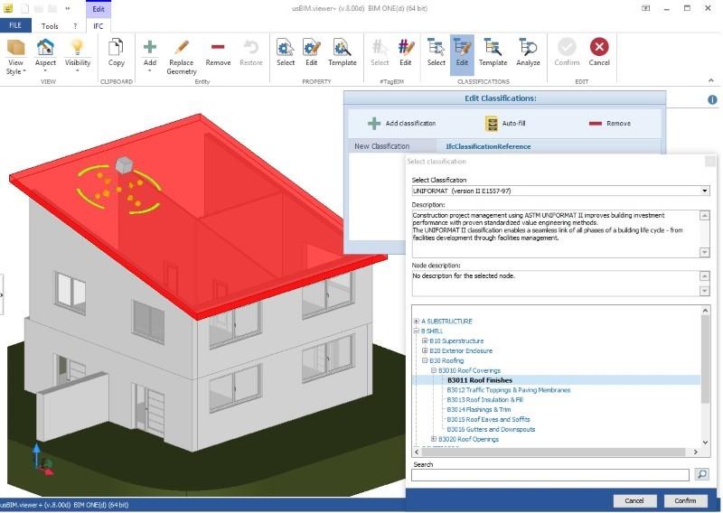 Immagine a colori che mostra IFC e sistemi di classificazione in edilizia e un esempio di classificazione UniFormat con usBIM.view+