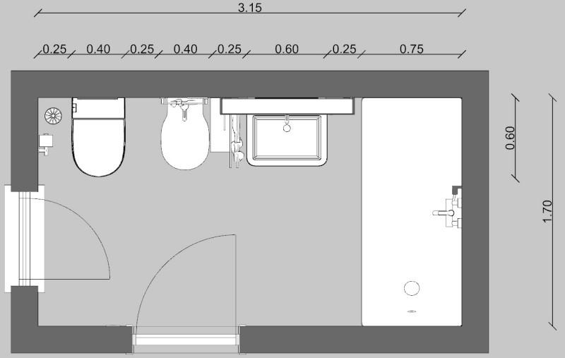 rappresentazione grafica della pianta di un bagno con dimensioni