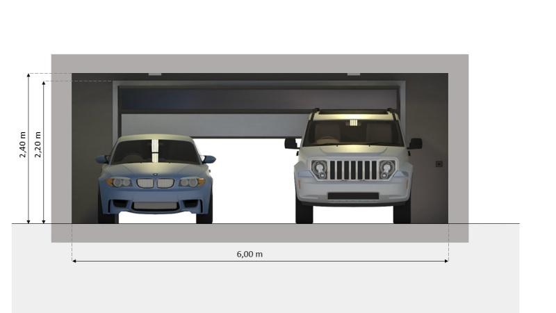 Sezione trasversale del progetto di un garage con box doppio