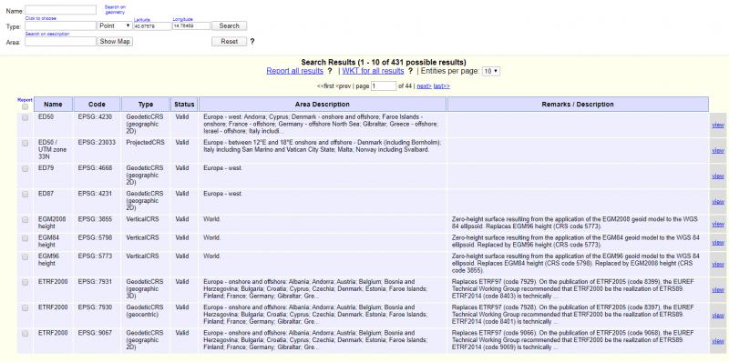 Schermata servizio online EPSG