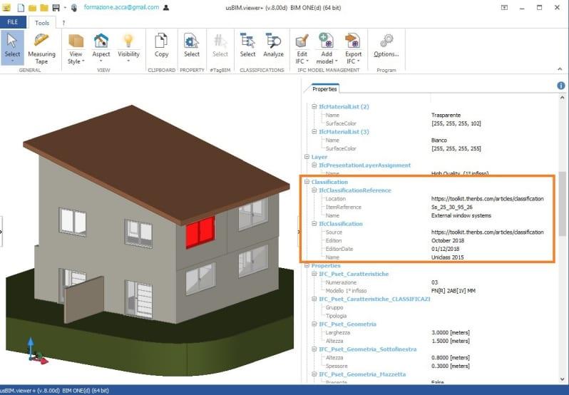 Immagine che mostra la verifica della classificazione delle entità con il software usBIM.viewer+