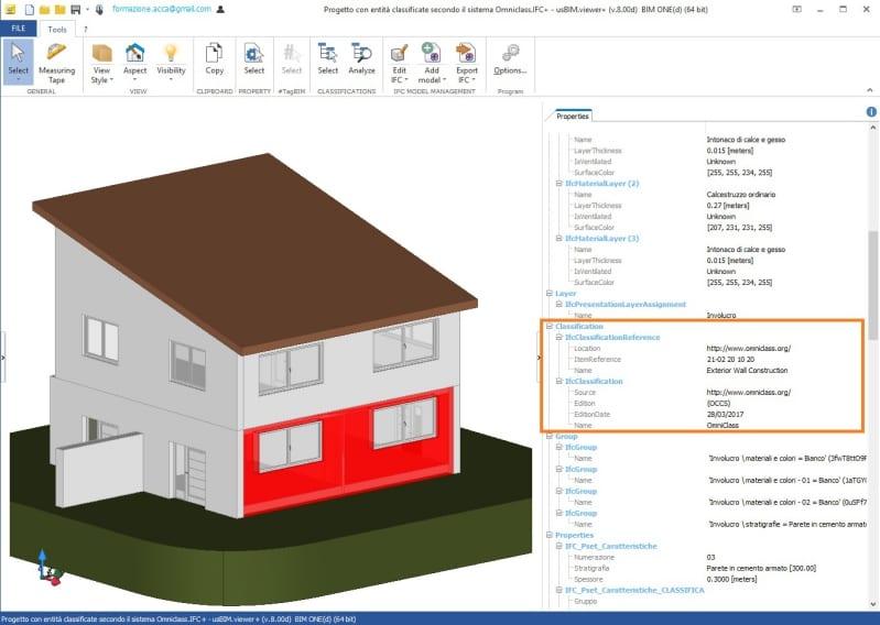 Immagine a colori che mostra un esempio di verifica della classificazione OmniCllass delle entità di un progetto con usBIM.viewer+