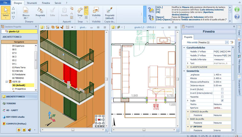 TerMus BIM - modello del caso studio - analisi termica