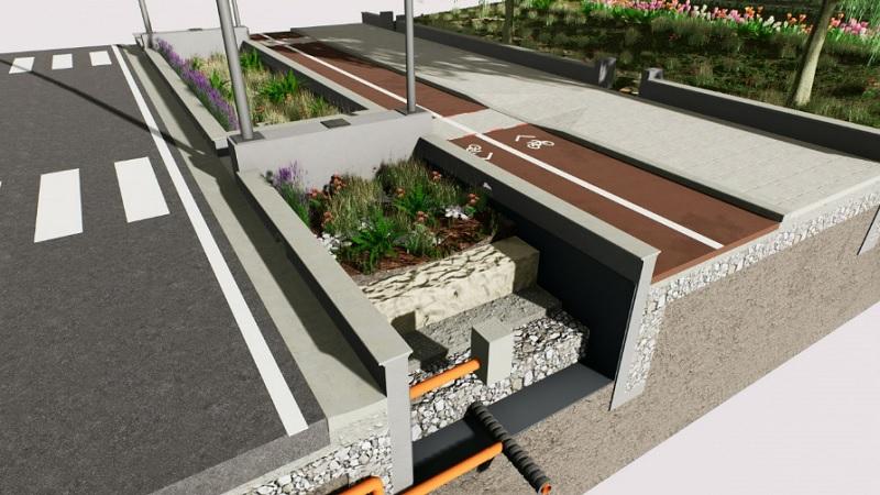 Progetto complesso di rain garden | rivestimento geofrabrico
