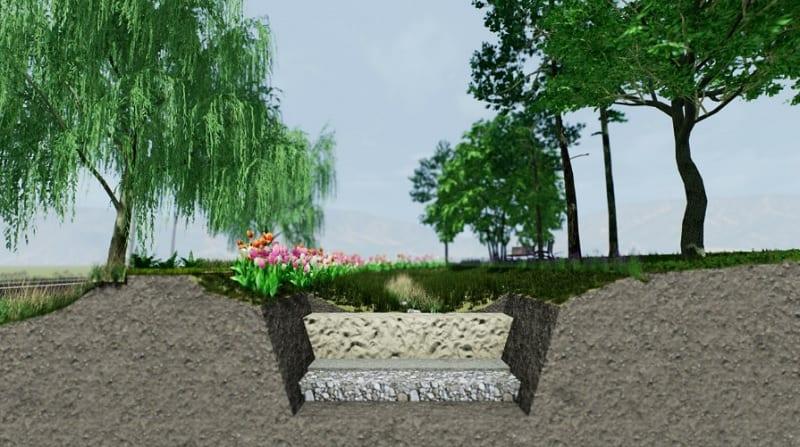 sezione di un progetto complesso di rain garden