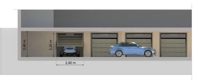 Sezione trasversale del progetto di un garage interrato organizzato in box