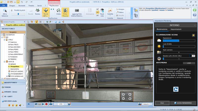 Immagine a colori che rappresenta un render realizzato con AIrBIM all'interno dell'interfaccia di Edificius