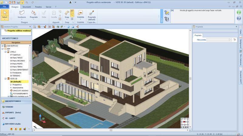 Immagine a colori che mette in evidenza il modello architettonico nell'interfaccia di Edificius