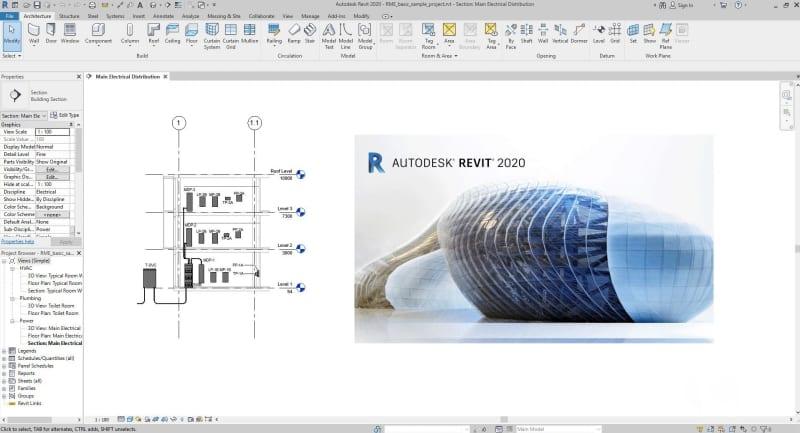 Immagine che mostra l'interfaccia di Revit, il software BIM per l'architettura
