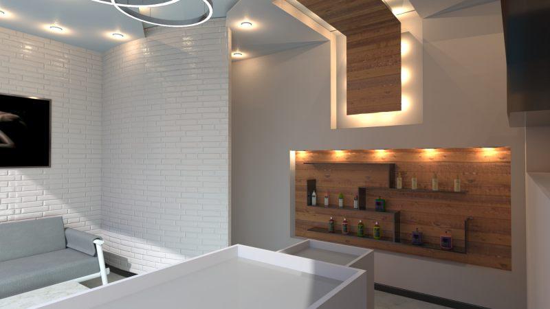 Immagine renderizzata dell'ingresso/sala d'attesa realizzato con Edificius