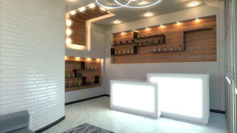Immagine renderizzata della zona della sala d'attesa realizzata con Edificius