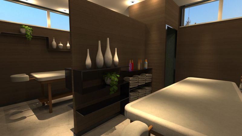 Immagine renderizzata dell'ambiente che è dedicato ai massaggi