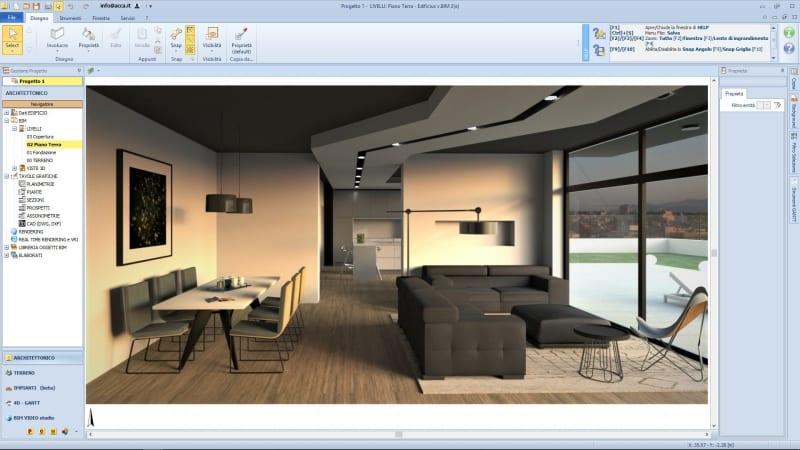 L'immagine mostra un render realizzato con Edificius, il software BIM per l'architettura