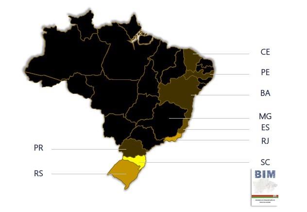 Immagine che mostra la diffusione del BIM negli Stati federali © SENAI (Serviço Nacional de Aprenzidagem Industrial)
