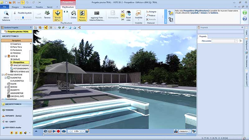 progetto di una piscina - Immagine interfaccia Edificius