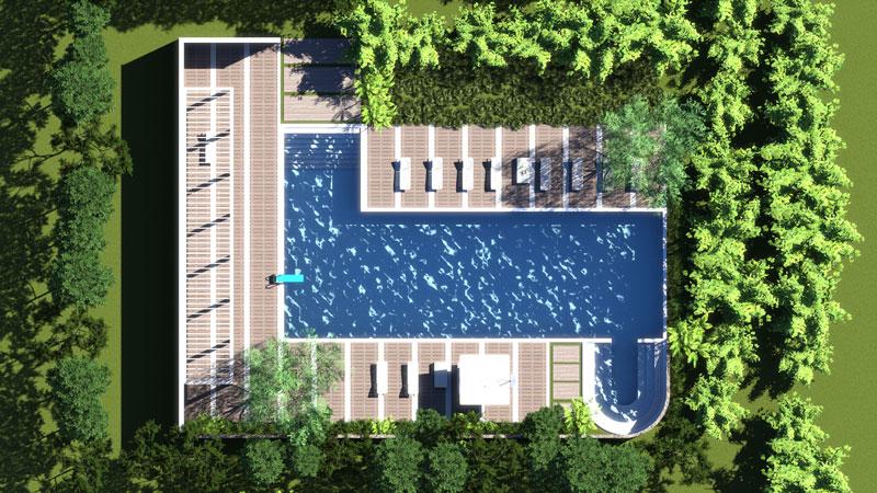 edificius render piscina dall'alto