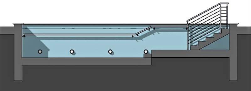 piscina riabilitativa - sezione longitudinale