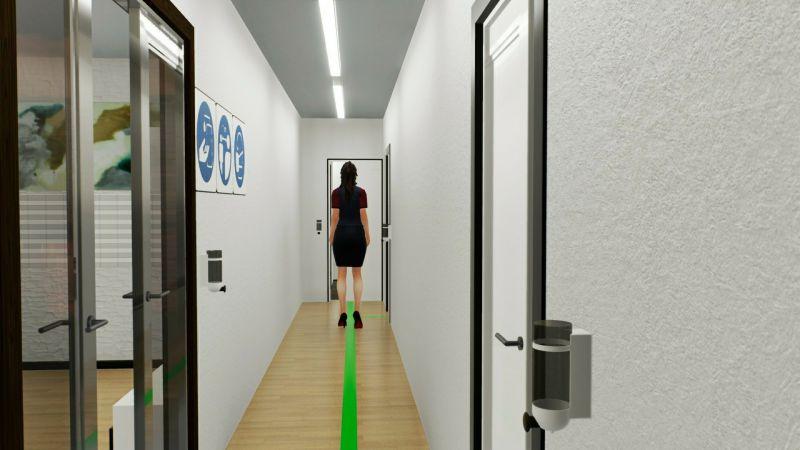 Immagine renderizzata che mostra l'organizzazione del corridoio per la riapertura del bed and breakfast