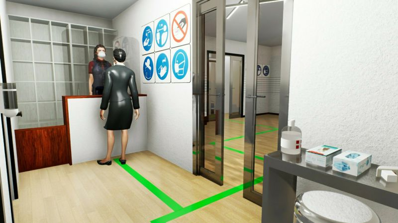Immagine renderizzata che mostra l'organizzazione dell'ingresso per la riapertura del bed and breakfast