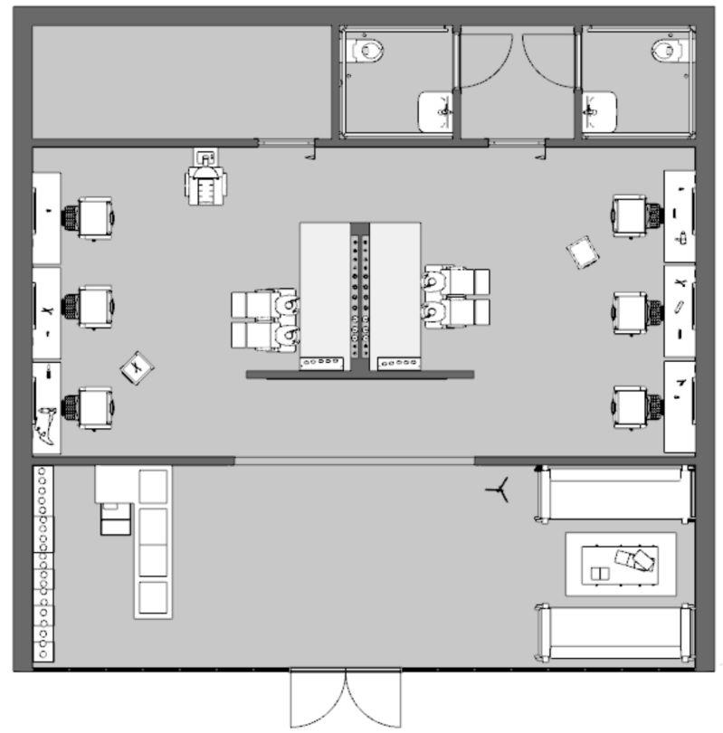 Immagine che mostra la disposizione del negozio di parrucchiere prima degli interventi per la riapertura