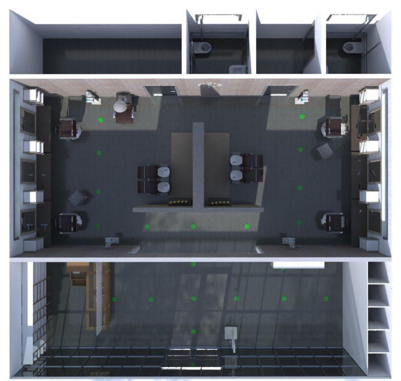 immagine che mostra il render della pianta del negozio di parrucchiere realizzato con Edificius