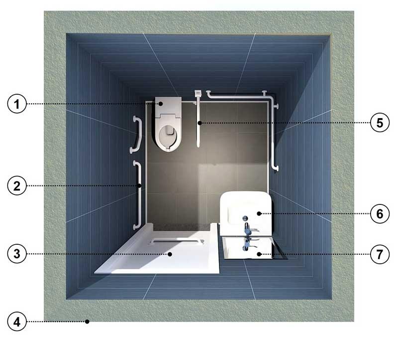 progettare un bagno per disabili - pianta - elementi essenziali