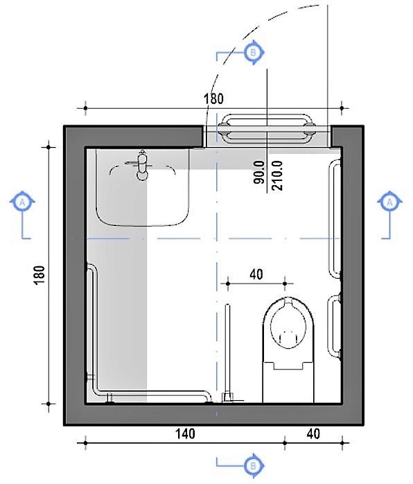 progettare un bagno per disabili - pianta