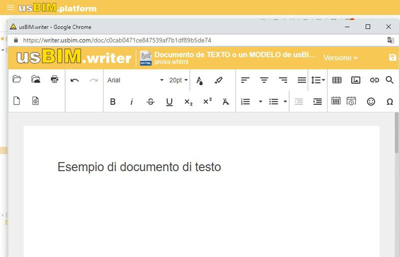 interfaccia di usBIM.writer