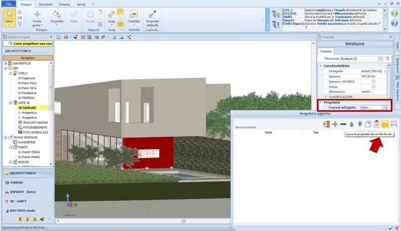 Immagine che mostra le novità release Edificius BIM 2(m) Importa le proprietà da un file Excel