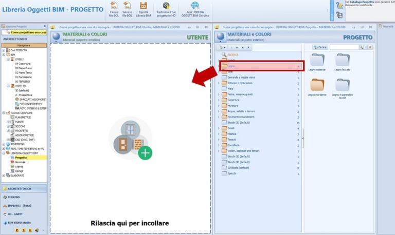 Immagine che mostra le novità della release Edificius BIM 2(m) Drag&Drop di elementi da una Libreria all'altra
