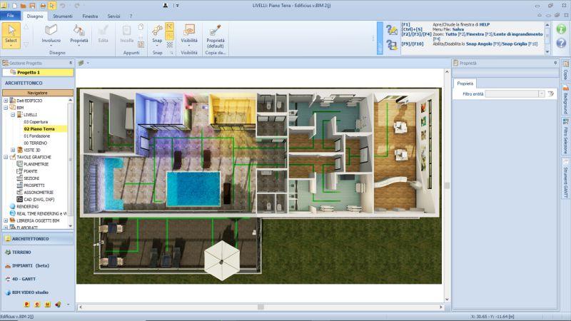 Immagine che mostra una vista prospettica della pianta con la nuova disposizione degli ambienti per la riapertura del centro benessere