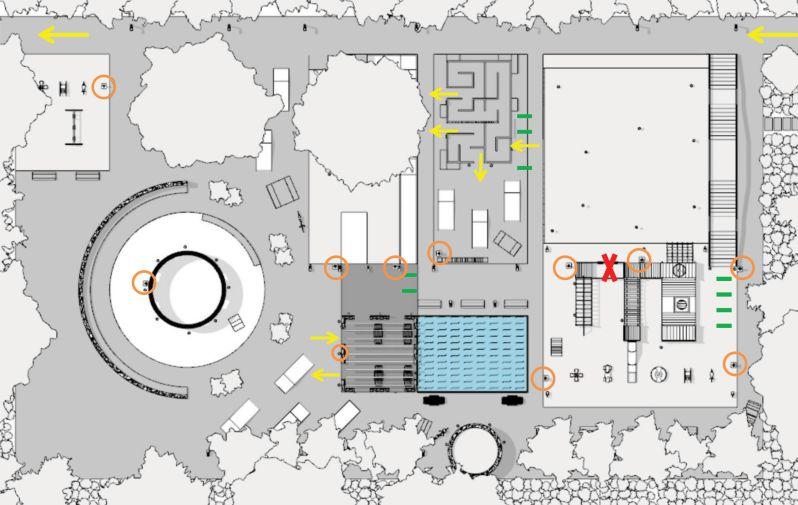 Immagine che raffigura la pianta di progetto per la riapertura del parco giochi