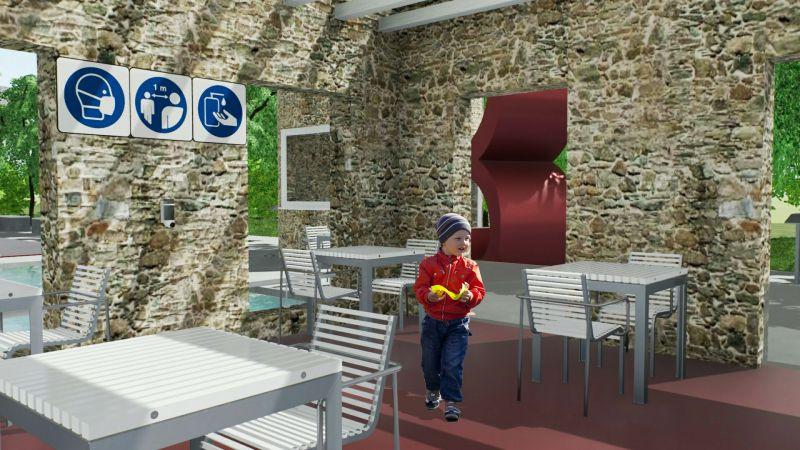 immagine renderizzata dell'area ristoro con la nuova disposizione dei tavoli