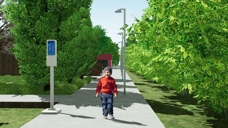 Immagine renderizzata dell'ingresso del parco giochi