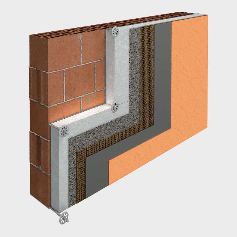 rivestimento della muratura mediante cappotto termico