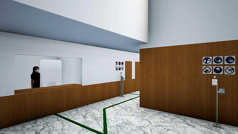 auditorium Vista del guardaroba e dei servizi
