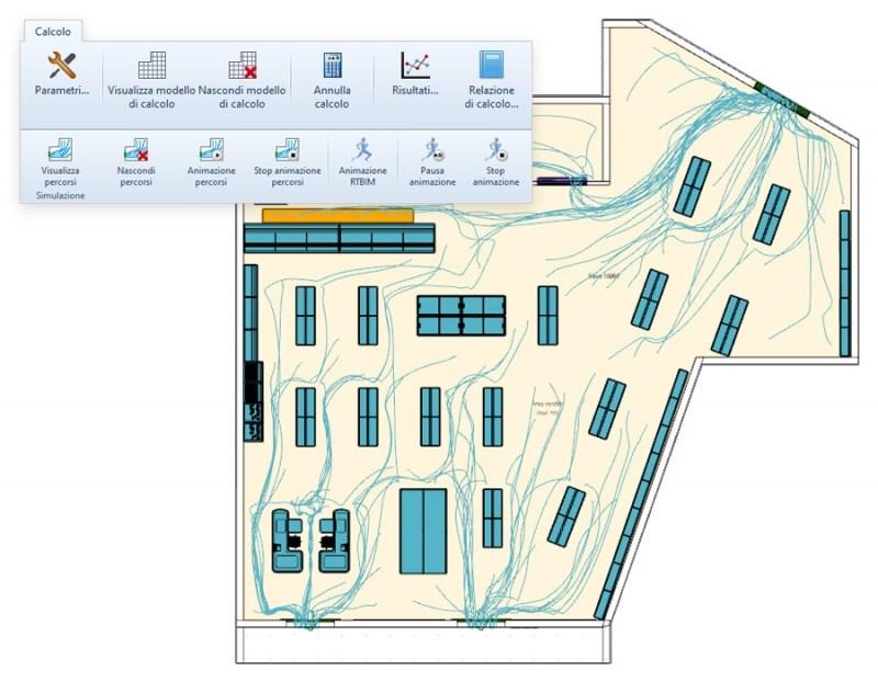 Simulazione evacuazione antincendio e calcolo dei percorsi d'esodo e dei tempi di evacuazione con ExiTus
