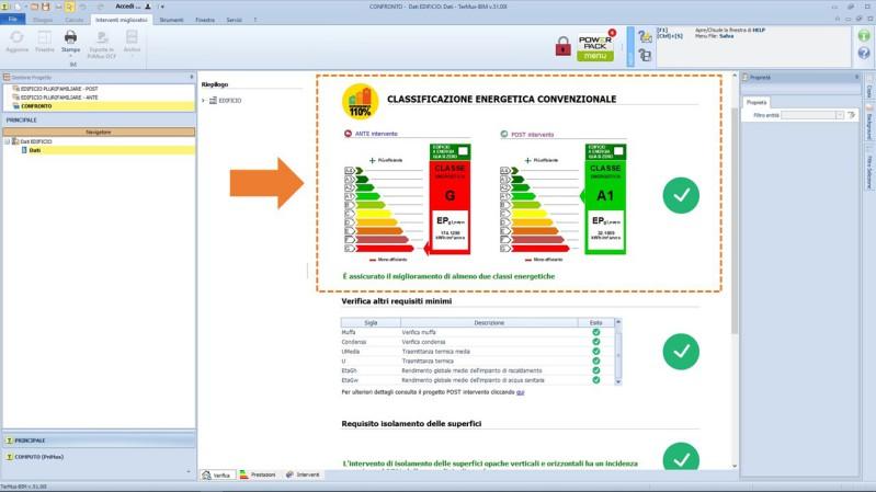 Verifica miglioramento di 2 classi energetiche con TerMus
