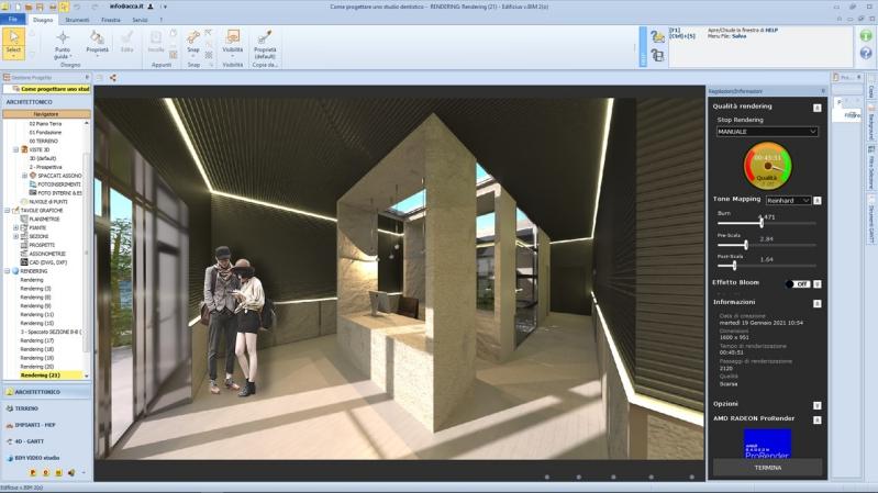 Render 3D fotorealistici e illuminazione per l'interior design realizzati con Edificius