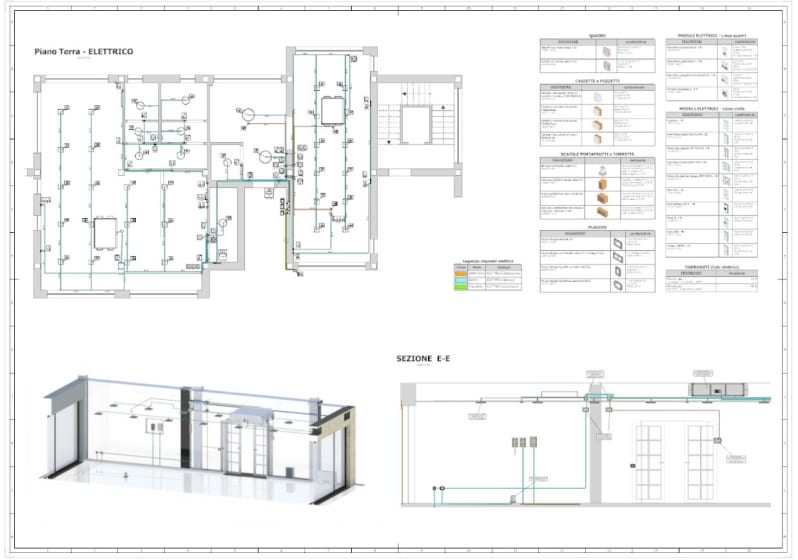 Tavola esecutiva impianti elettrici realizzata con Edificius