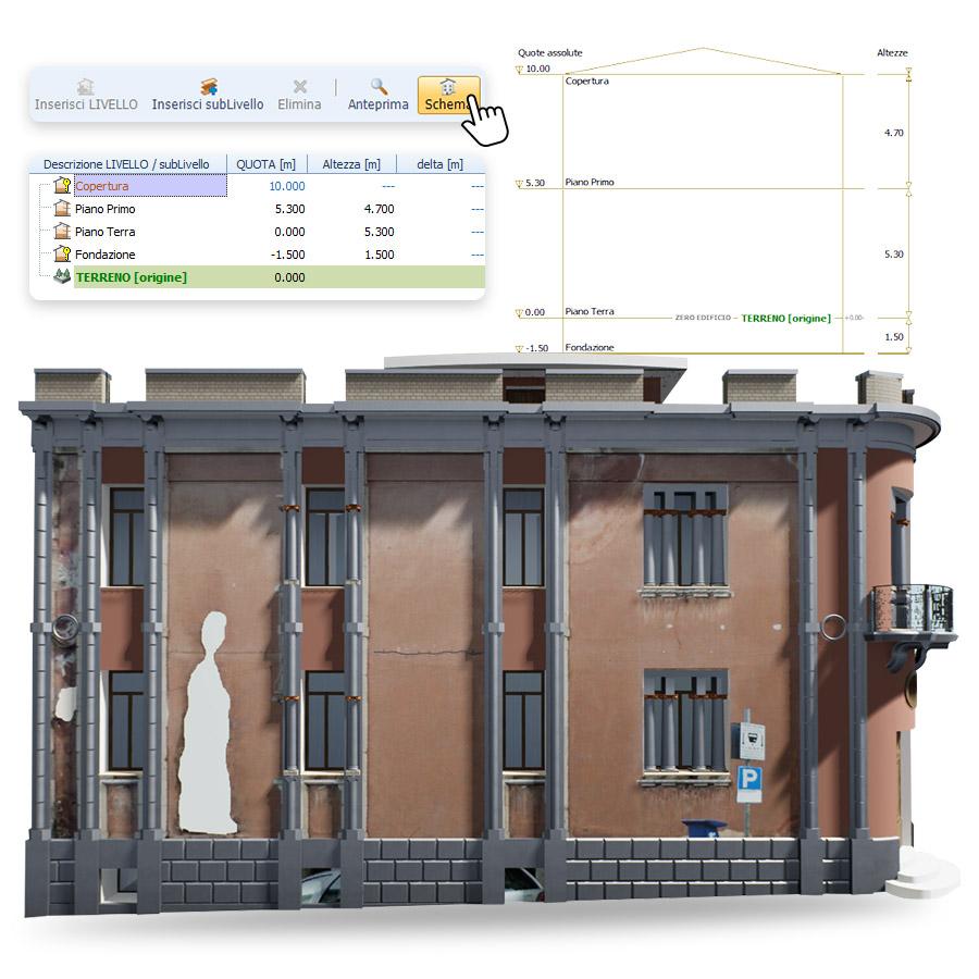 Gestione livelli edificio storico HBIM